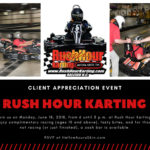 Join Us at Rush Hour Karting on Monday, June 18, 2018!