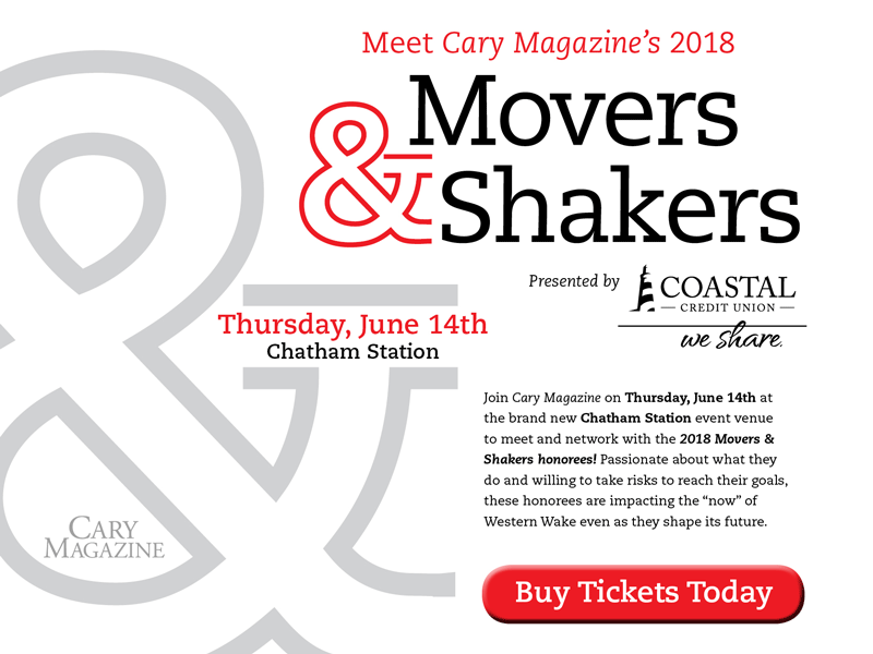 The honorees will celebrate on Thursday, June 14, at Chatham Station in Downtown Cary.