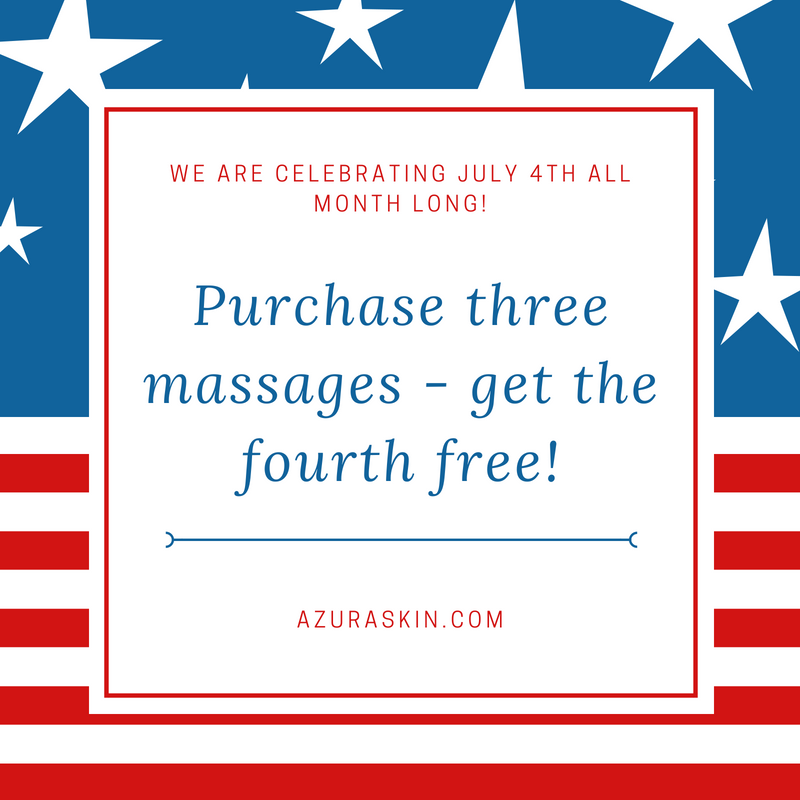 Purchase three massages and get the fourth free at Azura Skin Care Center in Cary NC July 2018