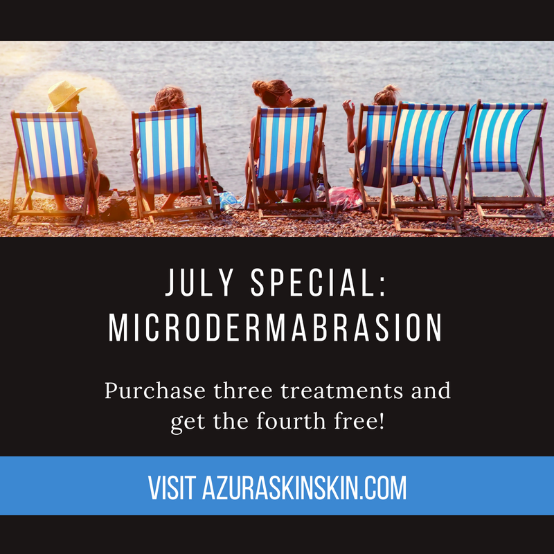 Special pricing on microdermabrasion treatments at Azura Skin Care Center Cary NC July 2018