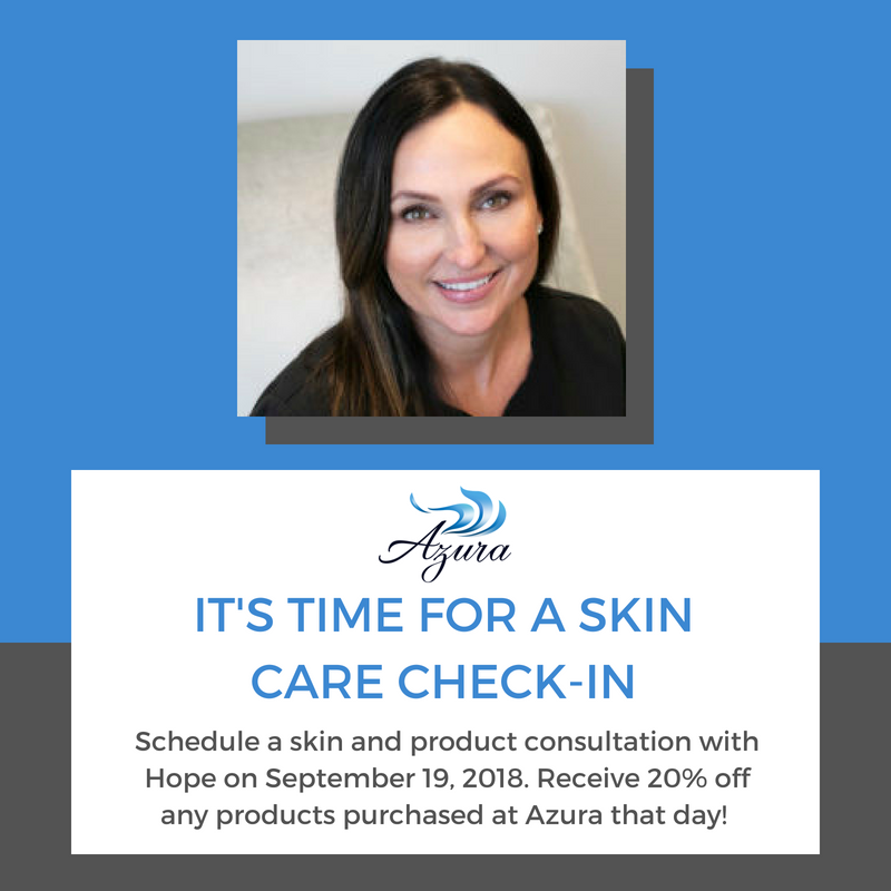 Skin care consultation with Hope at Azura Skin Care Center Cary, NC